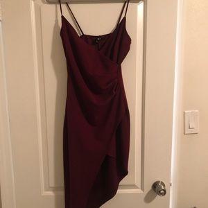 Windsor Asymmetrical Wrap Dress (Burgundy)
